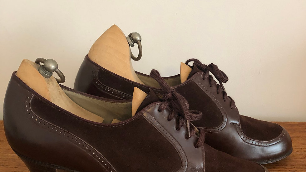 Fantastic 1930's Rich Brown Butter Soft Leather Lace Ups - Size 4 UK