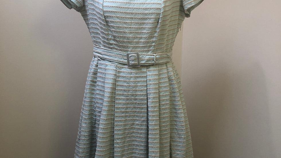True Vintage 1950's Duck Egg & Beige Stripe Textured Dress