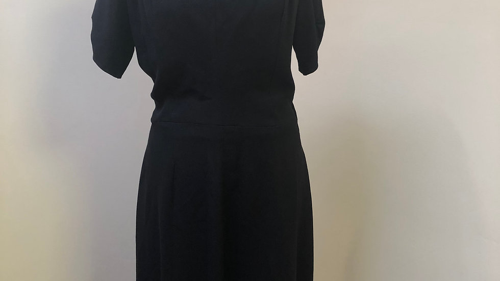 Exquisite 1940's Black Crepe Dress with Amazing Detailing