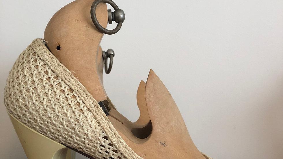 1940's Buttermilk Raffia Heels - Size 4 UK