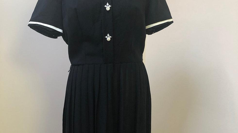 Lovely 1950's Black Dress with White Detailing
