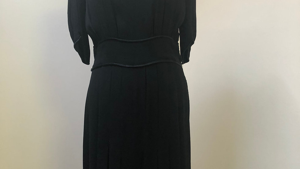 Amazing late 1930's/early 1940's Black Dress with Satin Piping
