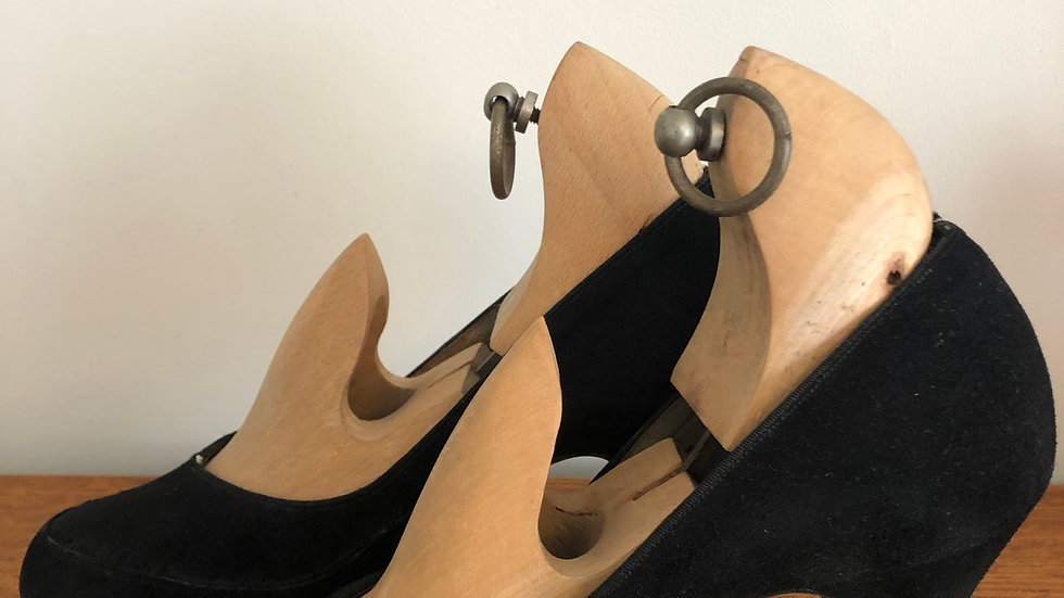 1940's Black Suede Heels - Size 4 UK