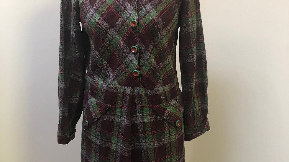 Gorgeous 1940's Autumnal Burgundy & Green Plaid Dress