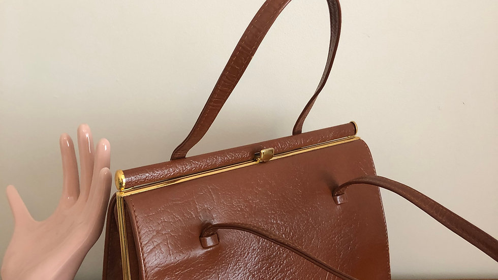 1950's Classic Tan Leather Handbag