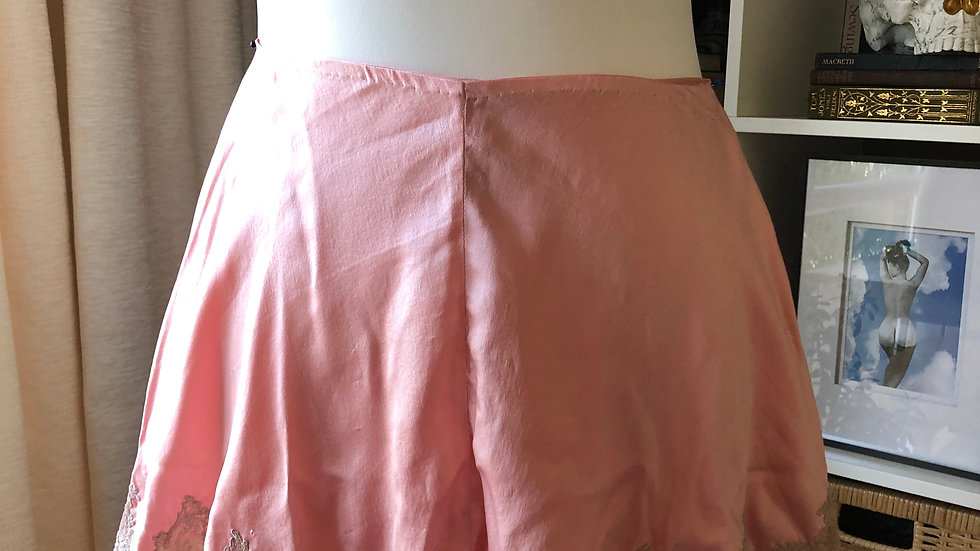 Softest 1930's 1940's Pink Silk and Lace Tap Pants