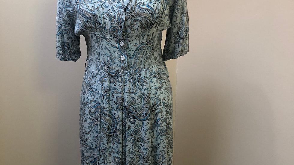 Fabulous Super Soft 1940's Blue Paisley Dress