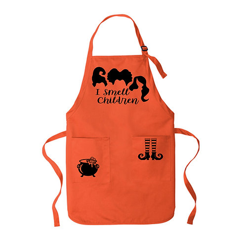 Halloween Orange Apron Black print