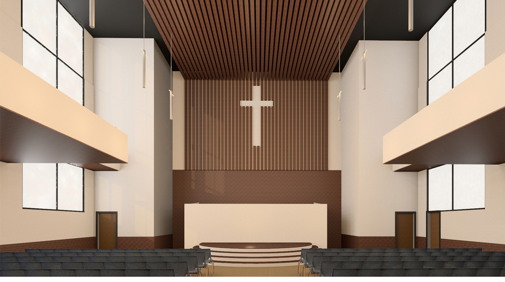 Sanctuary Church Interior Rendering Front