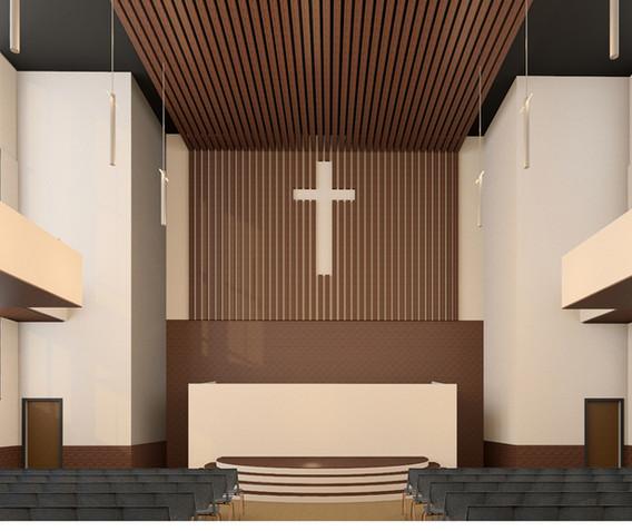 Sanctuary Church Interior Rendering Front