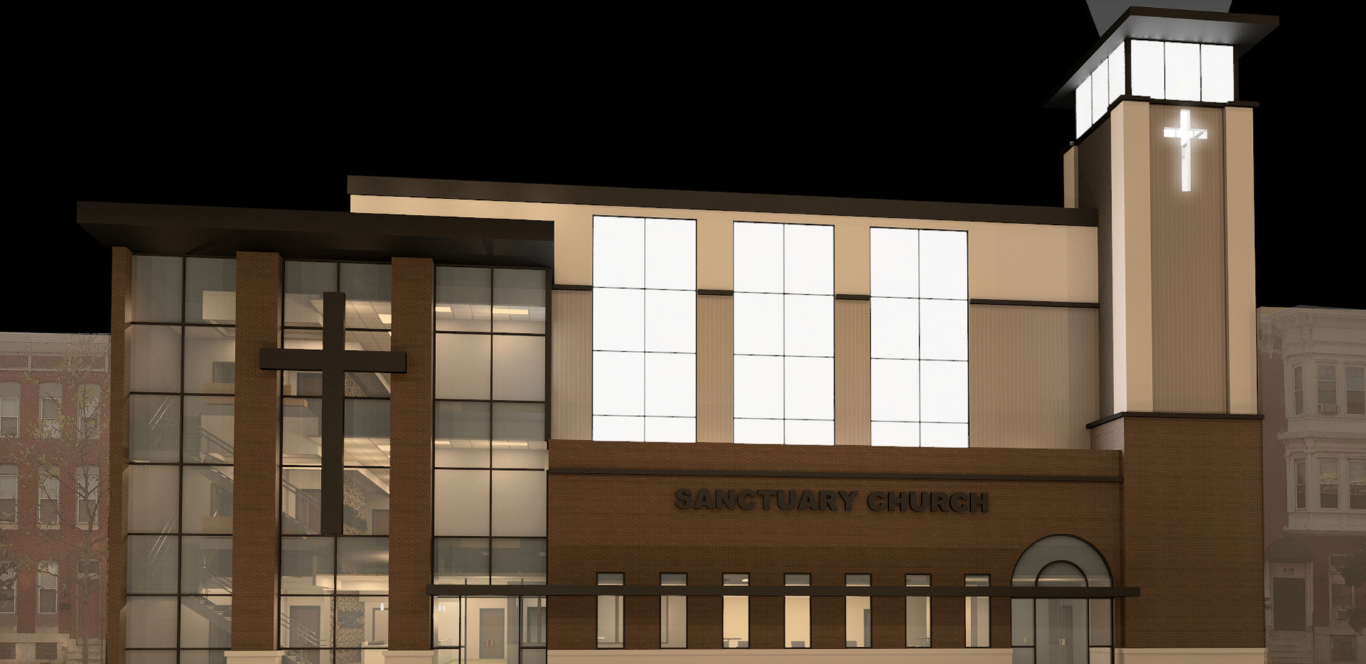 Sanctuary Church Night Time Elevation