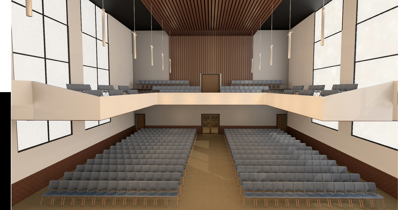 Sanctuary Church Interior Rendering Rear