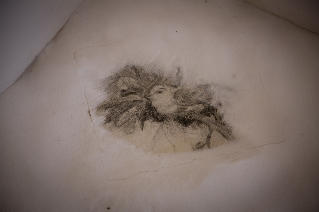 Lament by Mary Moran - drawing & salt detail