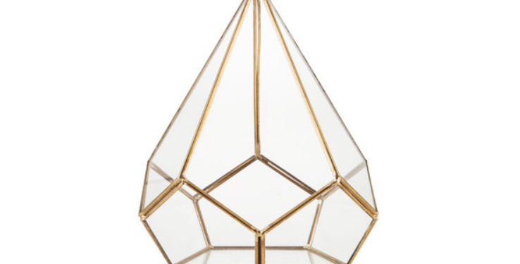 "Gold Geometric Terrarium, 7.3"" (Diamond)"