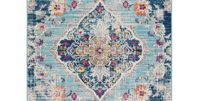 Boho Blue Floral Rug