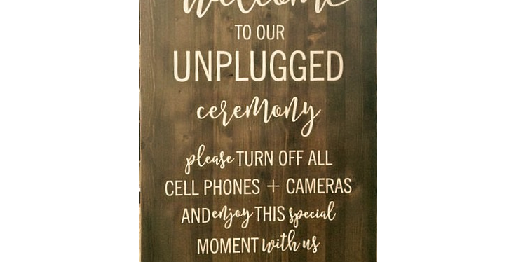 """Unplugged Ceremony Sign, 20"""" x 30"""""""
