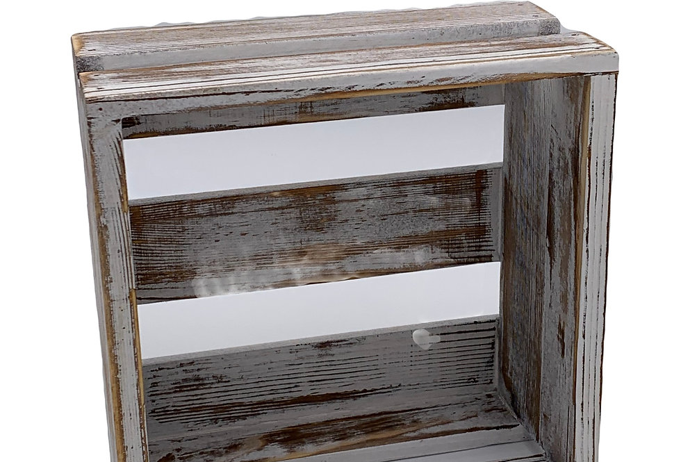 Shabby Whitewashed Wood Crate, Small
