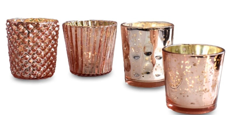 Rose Gold Mercury Candle Holders