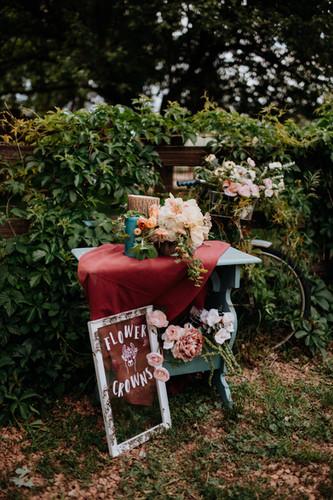 micro wedding flower station