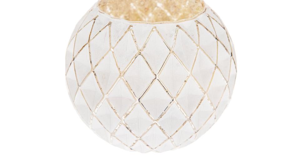 Diamond White + Gold Candle Holder