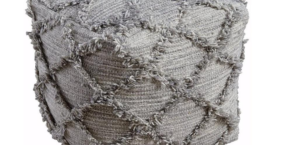 Gray Wool Pouf