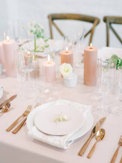 Wedding Table Blush and Gold with Candle