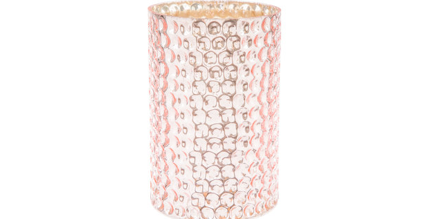 Pink Dotted Glass Candle Holder