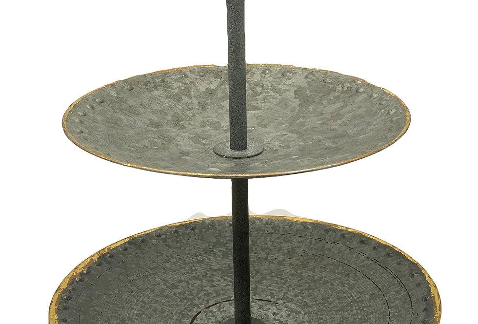 2-Tier Galvanized Dessert Tray