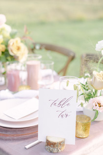 whimsical wedding table with number and