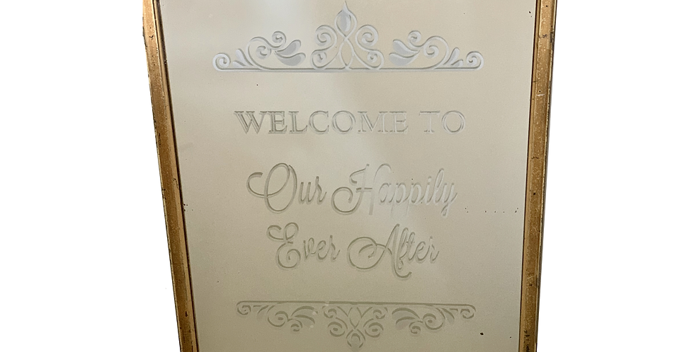 "Gold Mirror ""Welcome to Our Happily Ever After"""