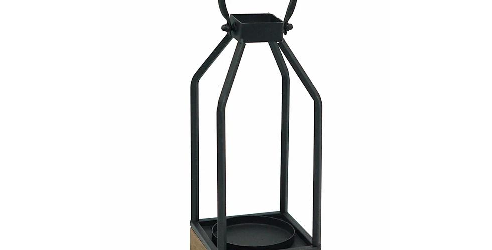 """Metal + Wood Lantern, 10""""H"""