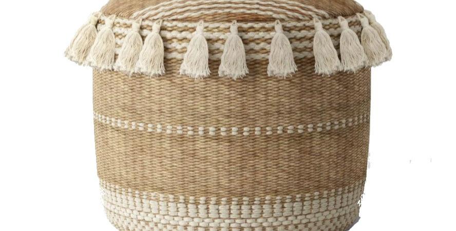 Striped Tassel Jute Pouf