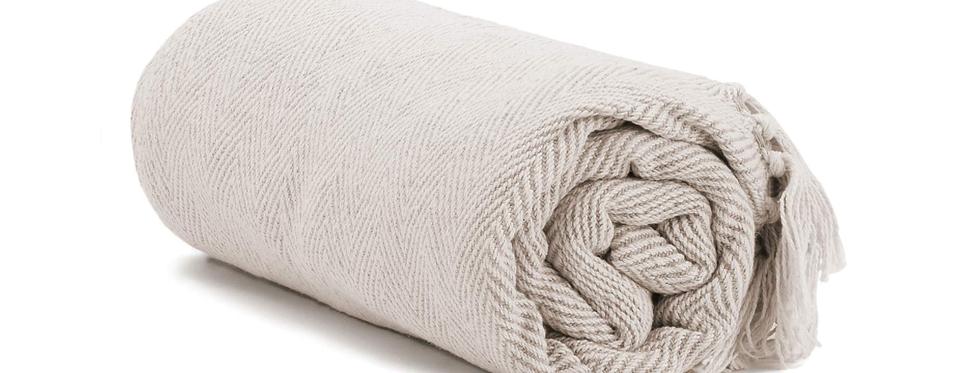 Blanket, Cream Herringbone