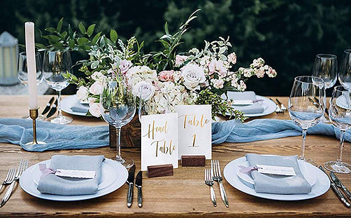 Gold foil table numbers for wedding reception