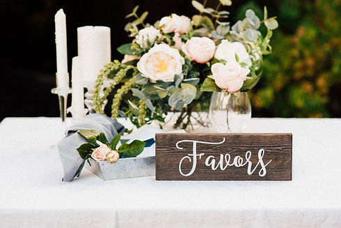 Wooden favors sign for wedding table