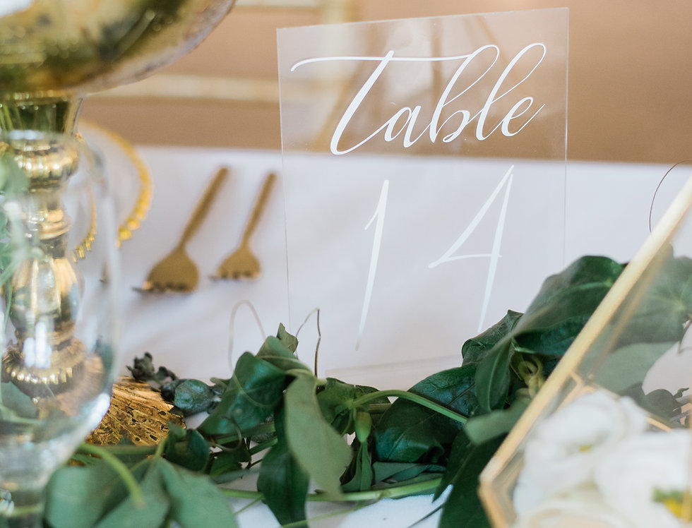 Modern Acrylic Table Numbers w/ Base