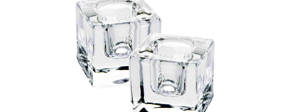 Square Glass Taper Candle Holder