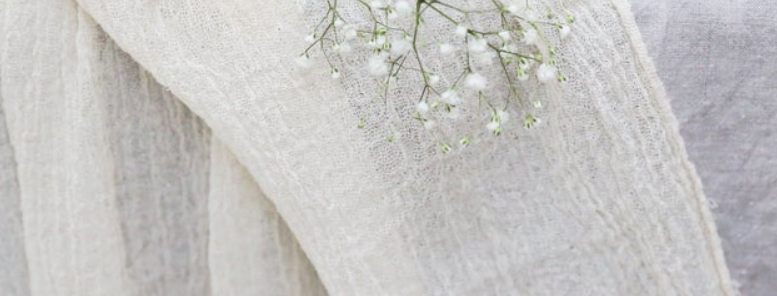Cheesecloth Gauze Table Runner, Ivory