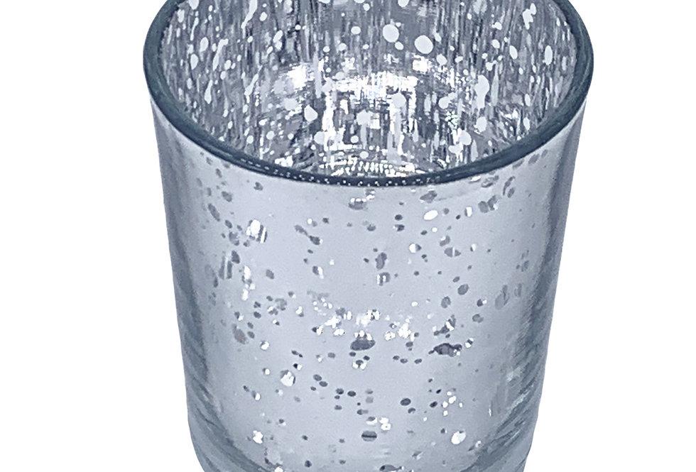 Mercury Glass Votive, Speckled Silver