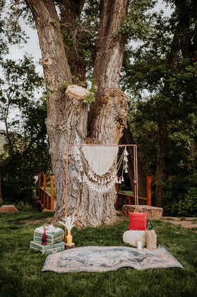 micro wedding ceremony and arch