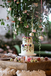 cake table and cake stand with hanging f
