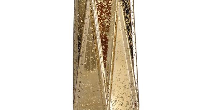 "Gold Geometric Mercury Glass Vase, 11""H"