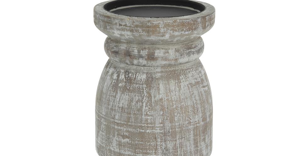 Whitewash Wooden Candle Holder