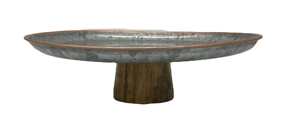 Cake Stand, Galvanized Top w/ Wood Base