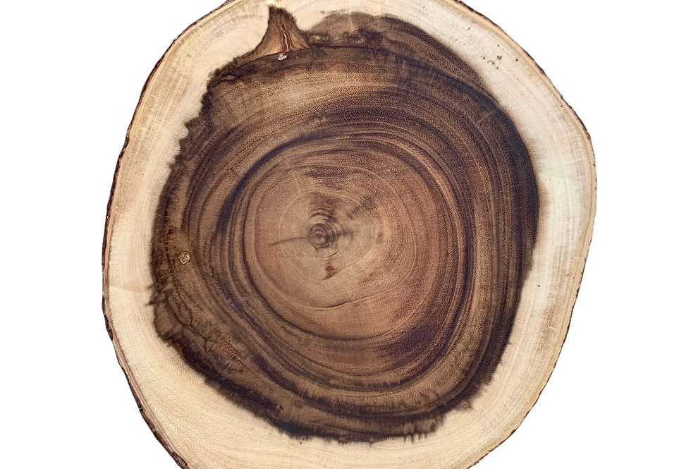 Bark Rim Wood Slab Lazy Susan