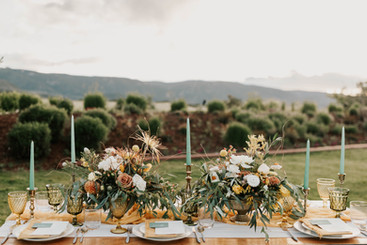 brass candlestick holders rustic wedding