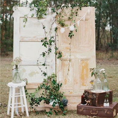 Vintage wedding decorations suitcase, vases, antique items