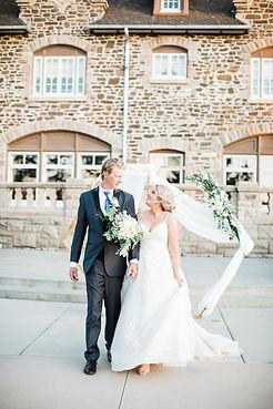 romantic modern wedding hexagon arch ren