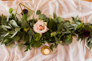 Ivory Table Runner with Greenery