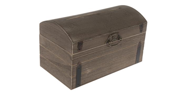 Antique Wood Card Box, Chestnut